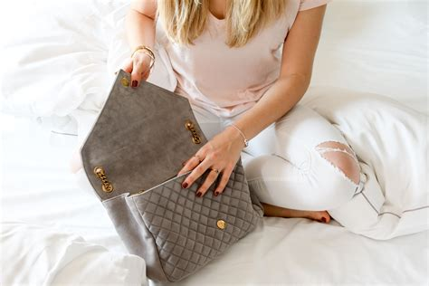 Love At First Sight: YSL Envelope Suede Grey - Bits and