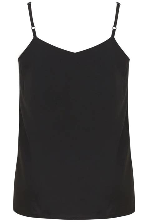 Black Woven Cami Top With Side Splits, Plus Size 16 to 36
