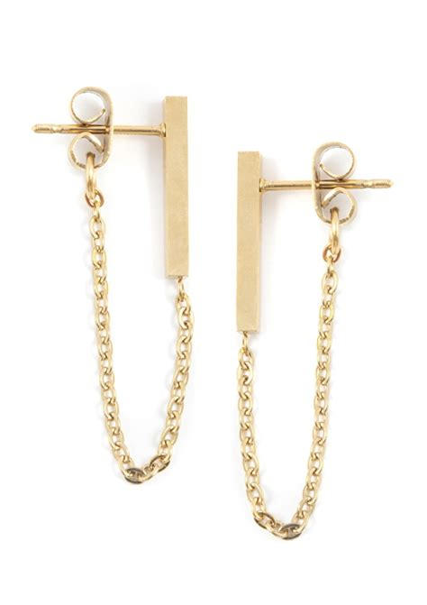 Bar Chain Earrings Gold - Happiness Boutique