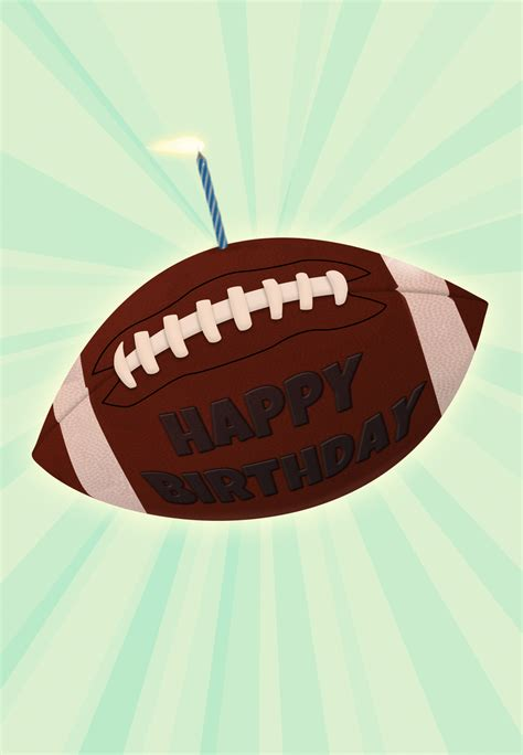 Football And A Candle Birthday Card | Greetings Island