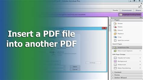 How to insert a PDF file into another PDF file using Adobe