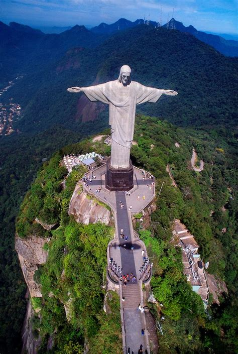 Aerial view of the Statue of Christ the Redeemer (Cristo