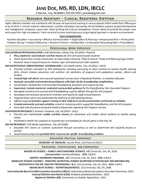Clinical Dietitian Resume Example - Nutritionist
