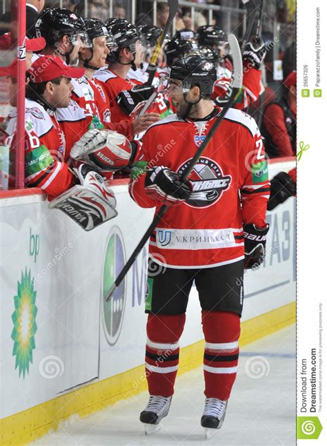 Hockey Player Smiling His Team Mate Editorial Photo
